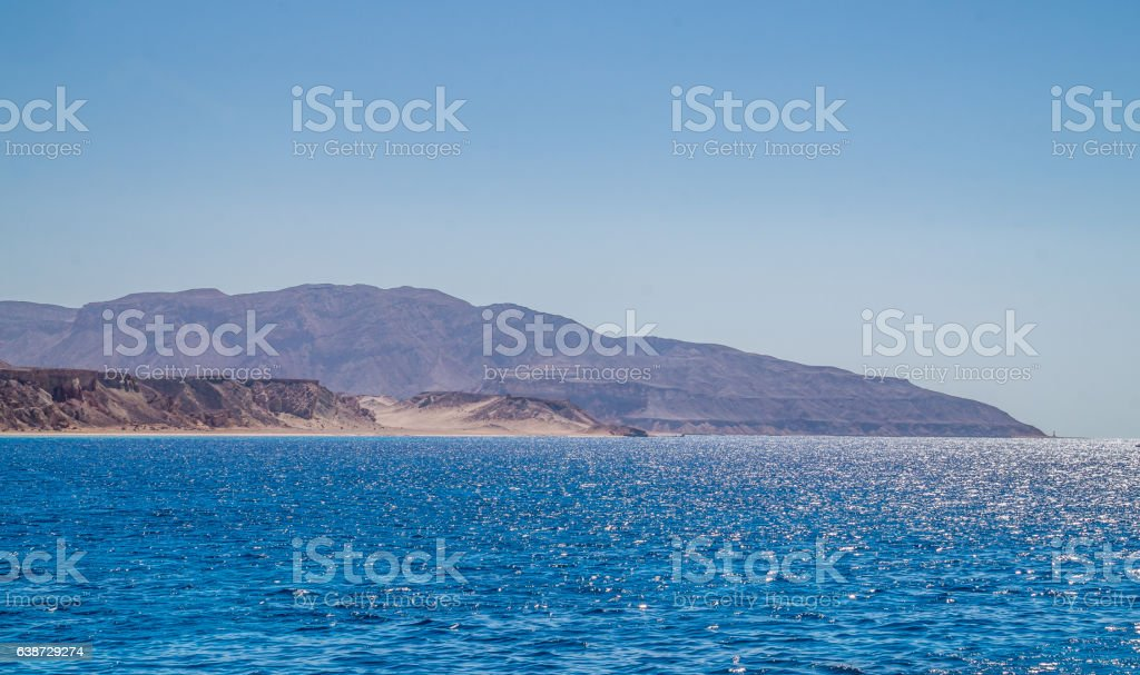 Desert rocky shore of Egypt. The ancient land stock photo