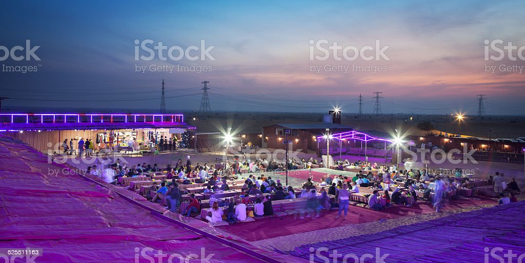 Desert safari camp Dubai stock photo