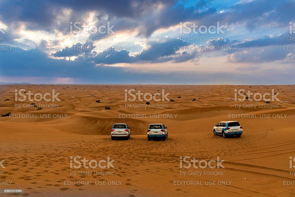 Desert safari in Dubai stock photo