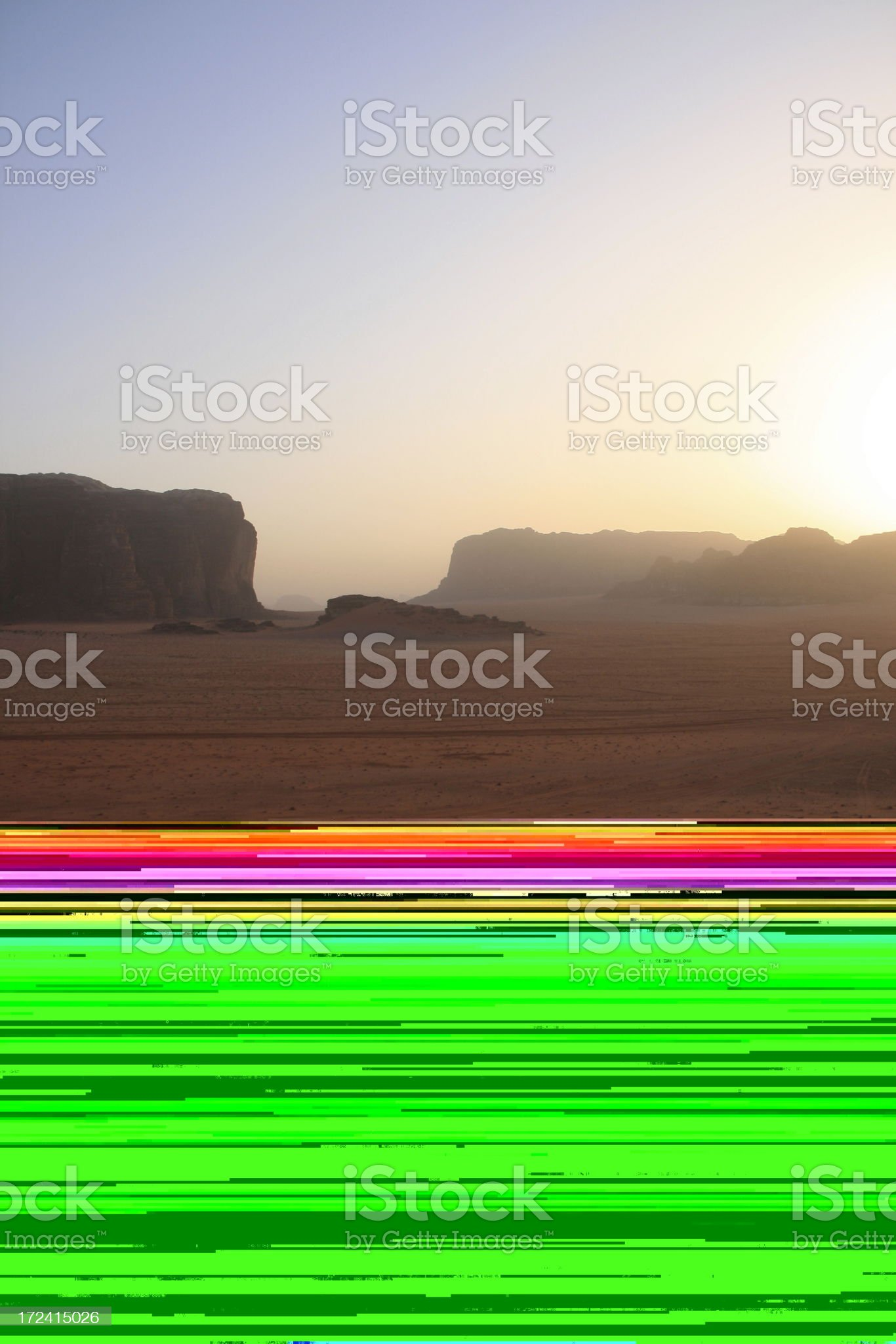 Desert safari jeep drives through Wadi Rum, Jordan at Sunset royalty-free stock photo