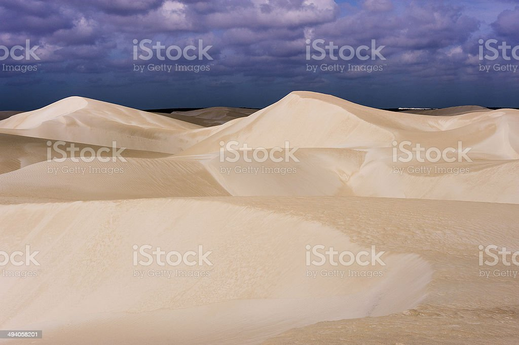 Desert sand dunes in  bright sun stock photo