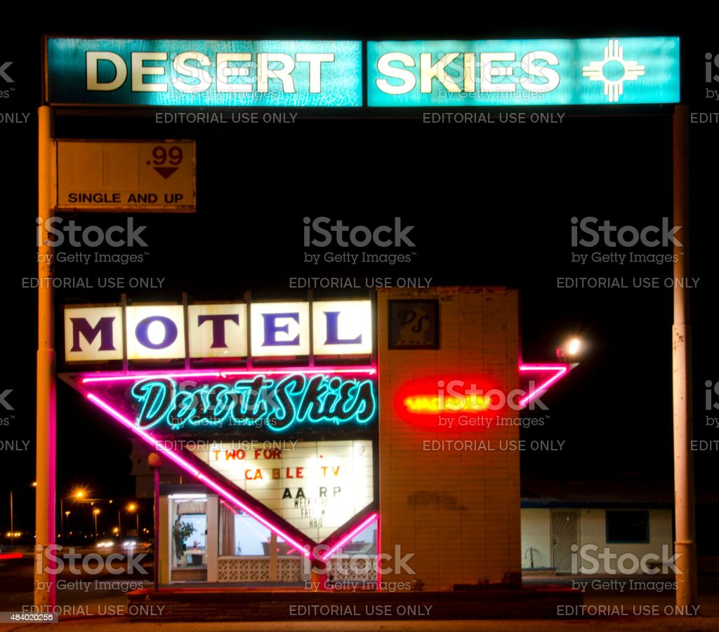 Desert Skies Motel Neon Sign on Route 66 stock photo