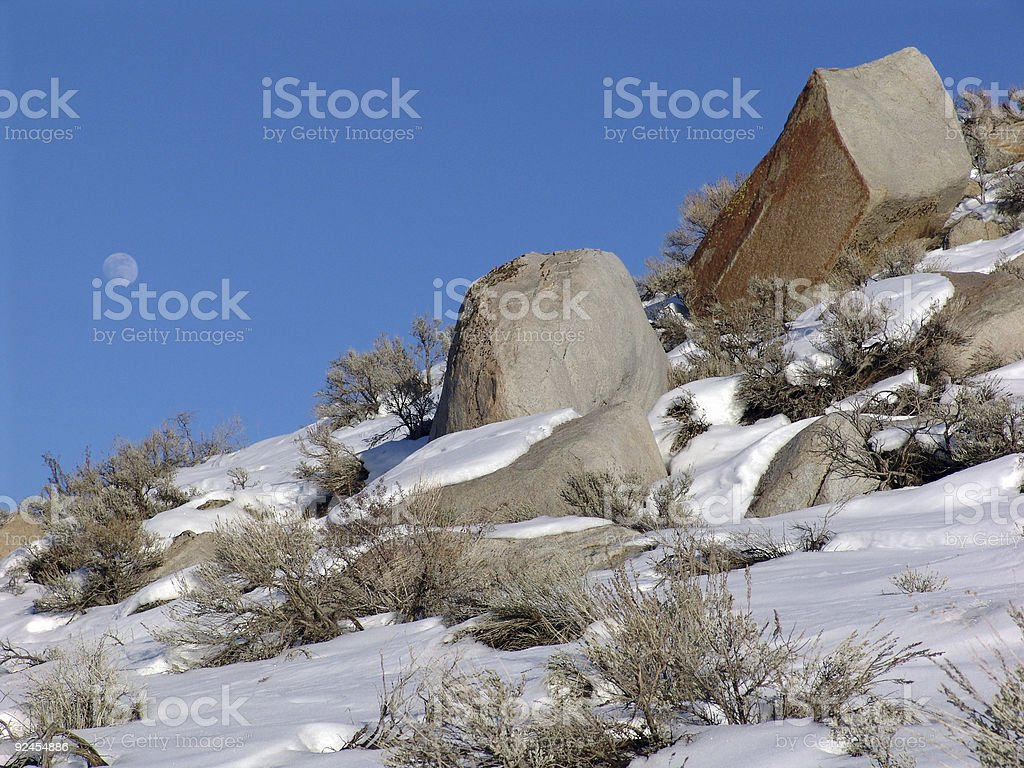 Desert Snow & Full Moon stock photo