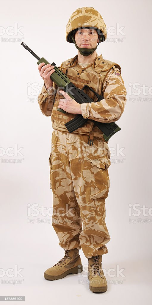 Desert Soldier With Rifle royalty-free stock photo
