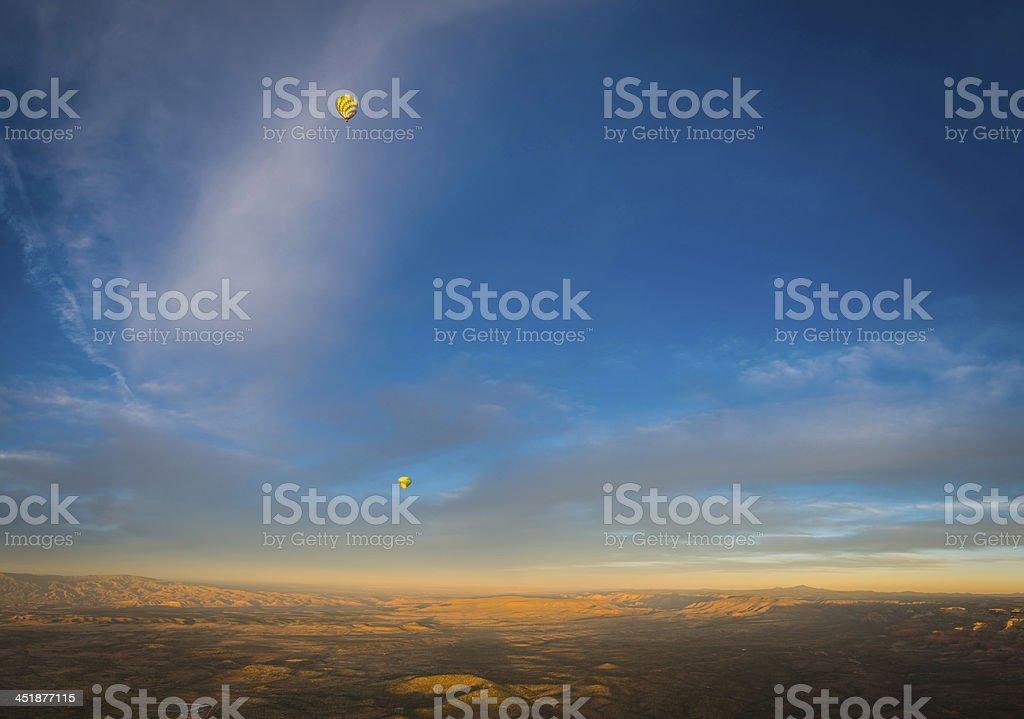 Desert sunrise balloons over Sedona red rock country Arizona USA royalty-free stock photo
