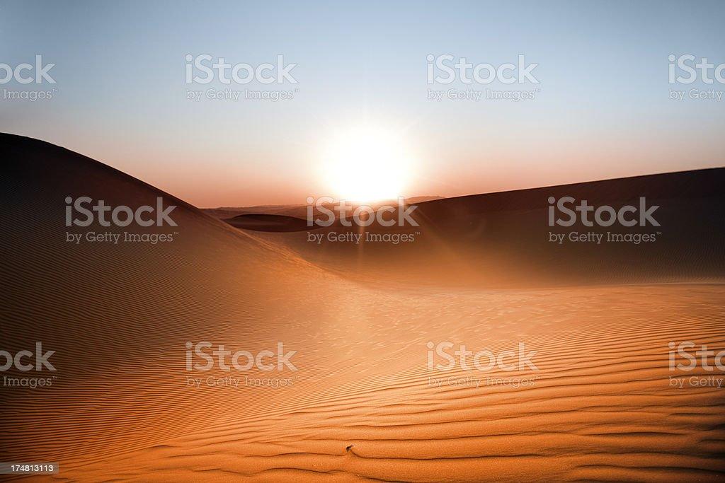 Desert Sunset Rub' al Khali of Abu Dhabi, UAE royalty-free stock photo