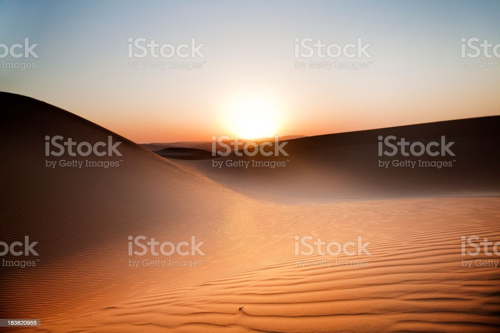 Desert Sunset Rub' al Khali of Abu Dhabi, UAE stock photo