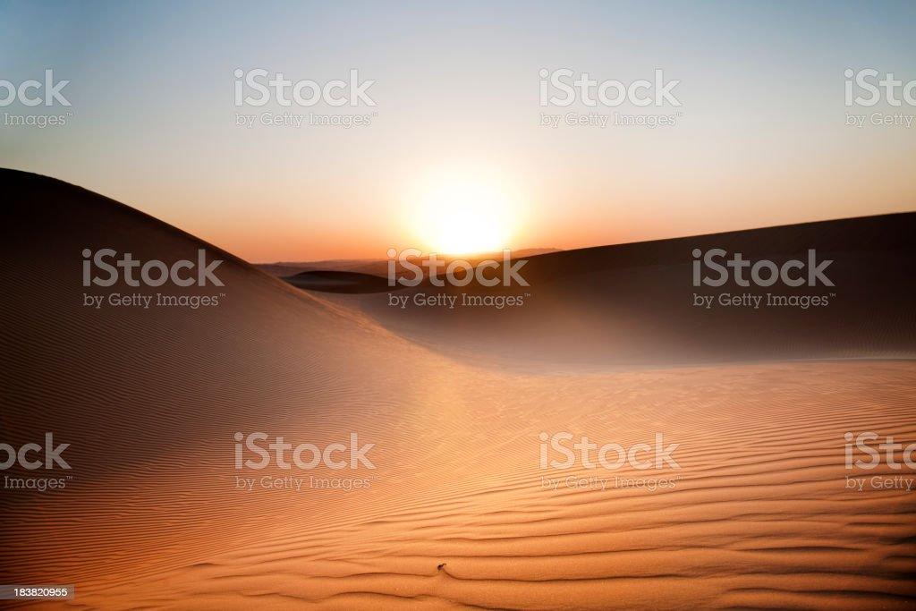 Desert Sunset Rub' al Khali of Abu Dhabi, UAE stock photo