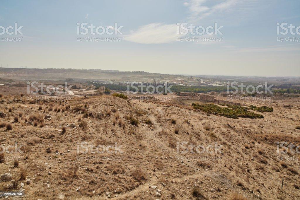 Desert valley in the center of Israel stock photo