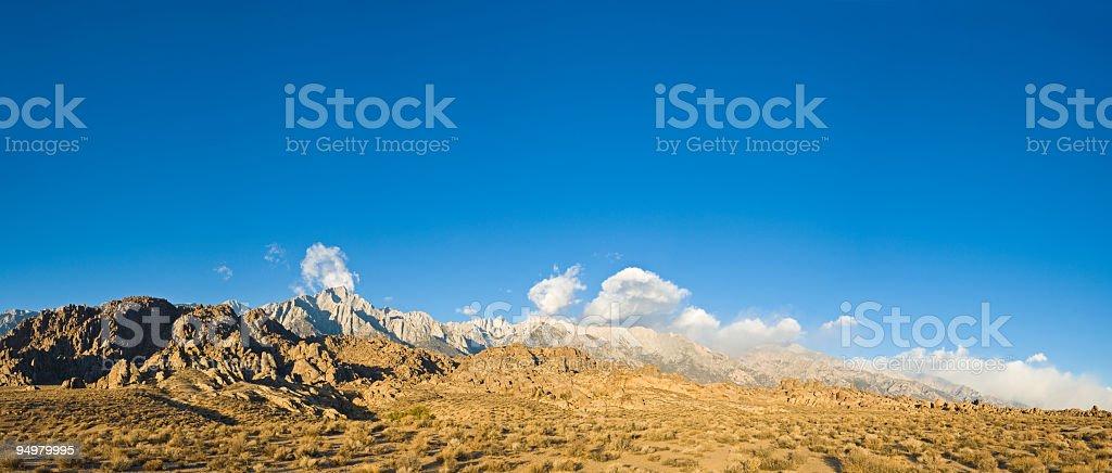 Desert valley, Sierra summits royalty-free stock photo
