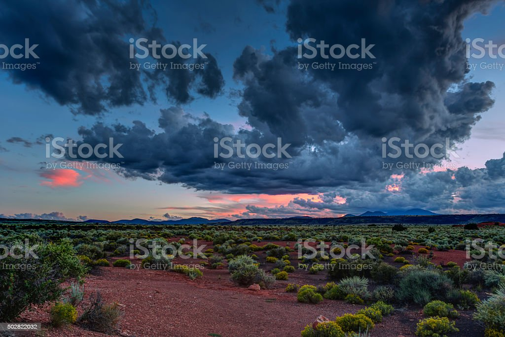 Desert vista at sunset near Flagstaff Arizona stock photo