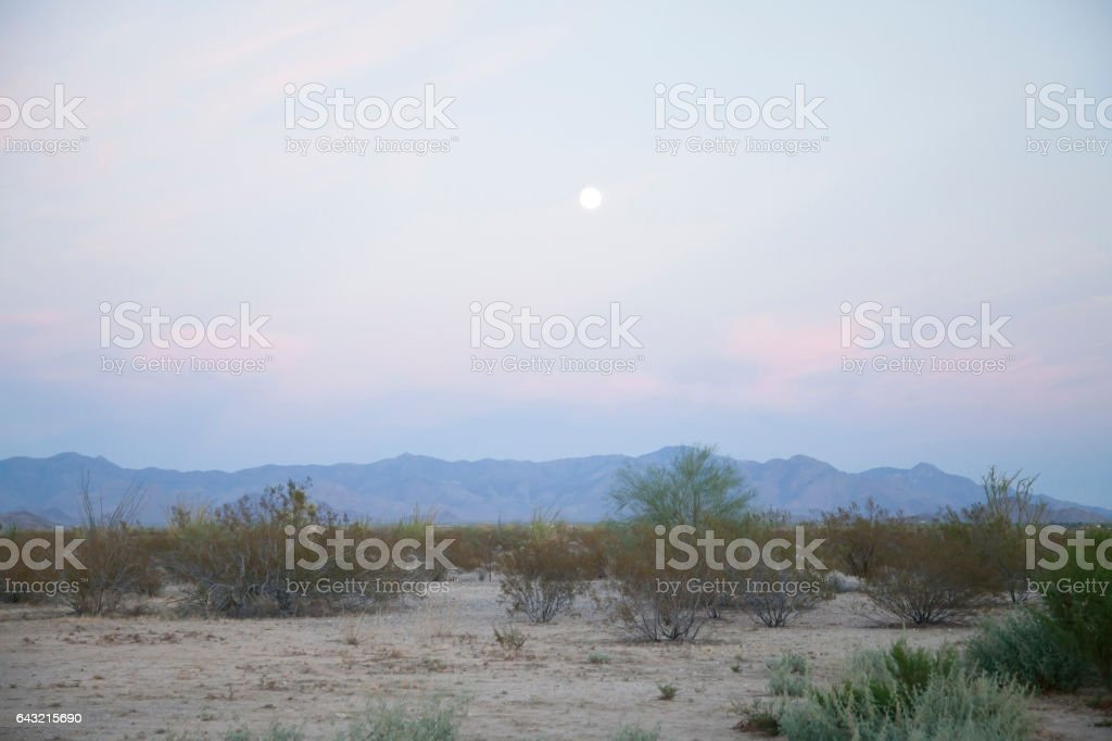 Desert with Mountains and Moon in Background stock photo