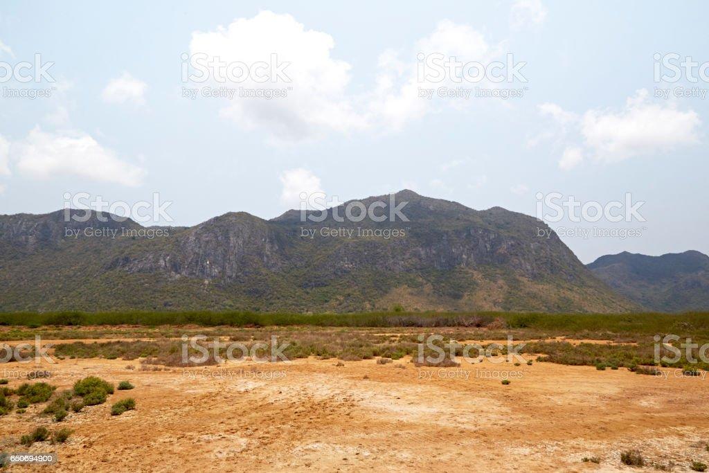 Desert with mountains stock photo