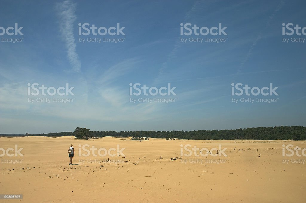 Desert with Woman royalty-free stock photo