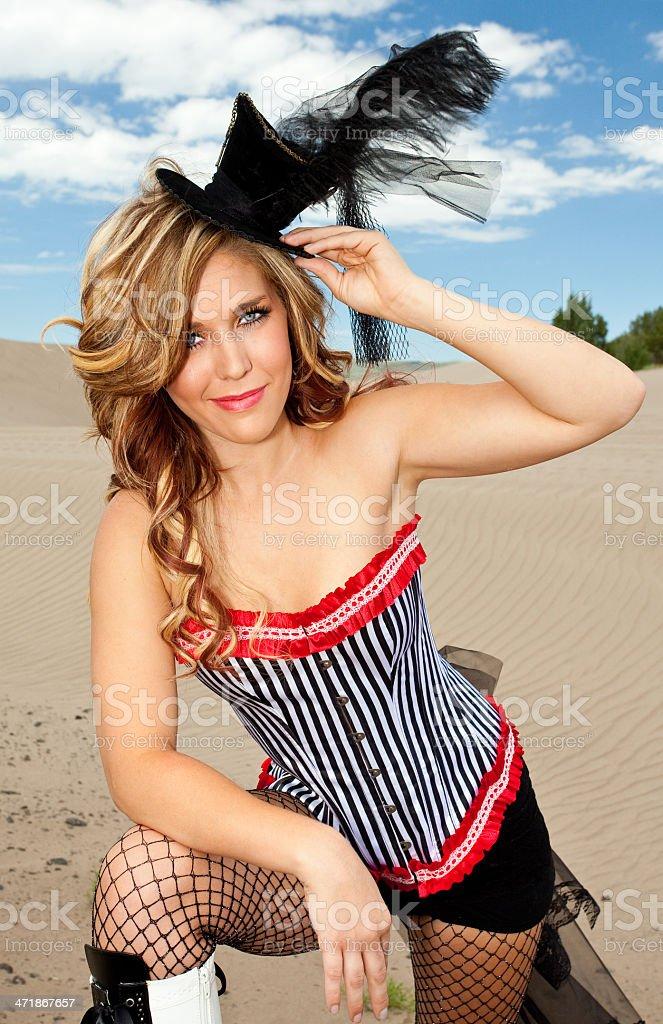 Pretty Woman standing alone in the desert