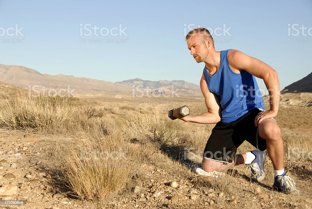 Desert workout stock photo