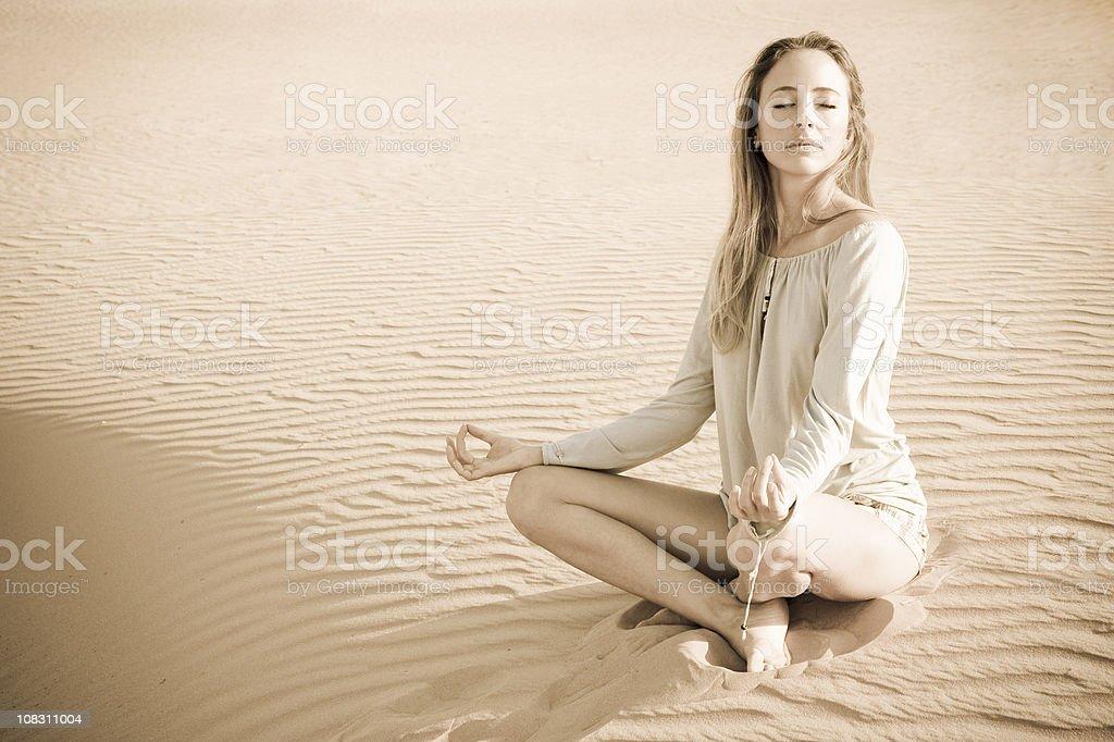Desert Yoga stock photo