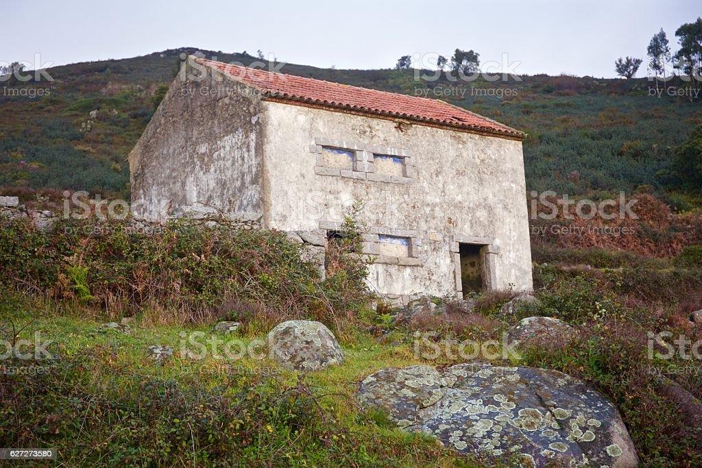 Deserted 14th Century Barn stock photo