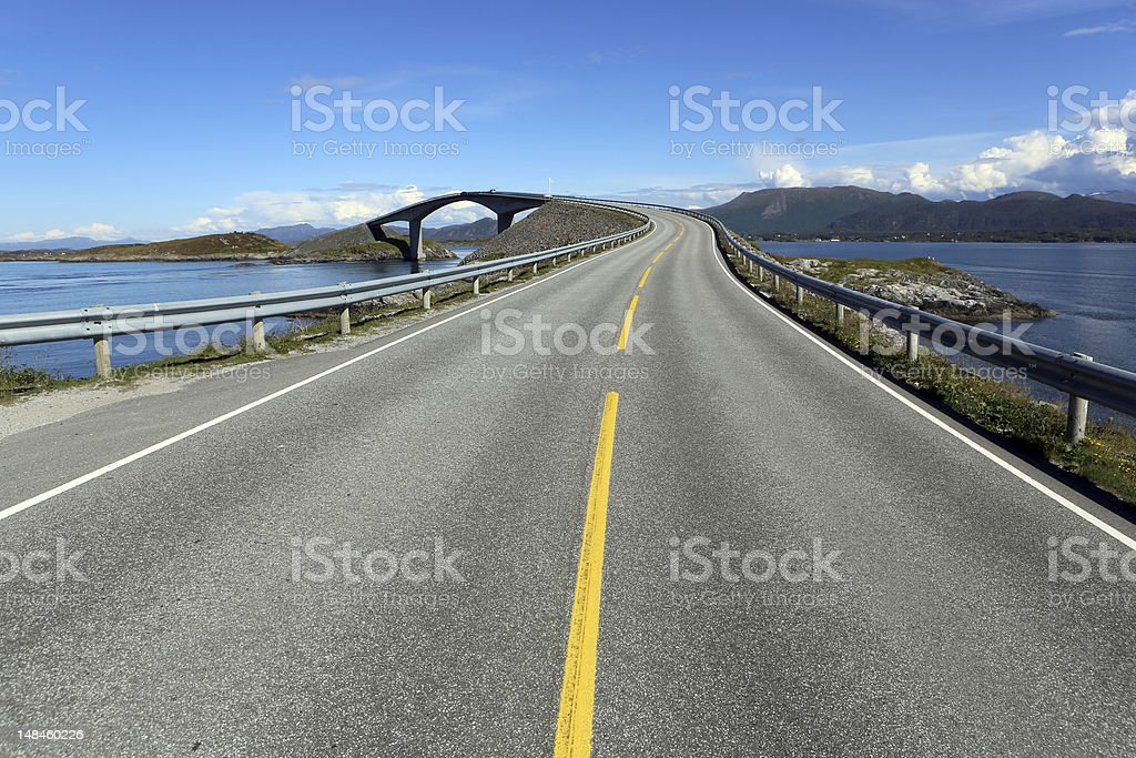 A deserted Atlantic Road on a sunny day stock photo