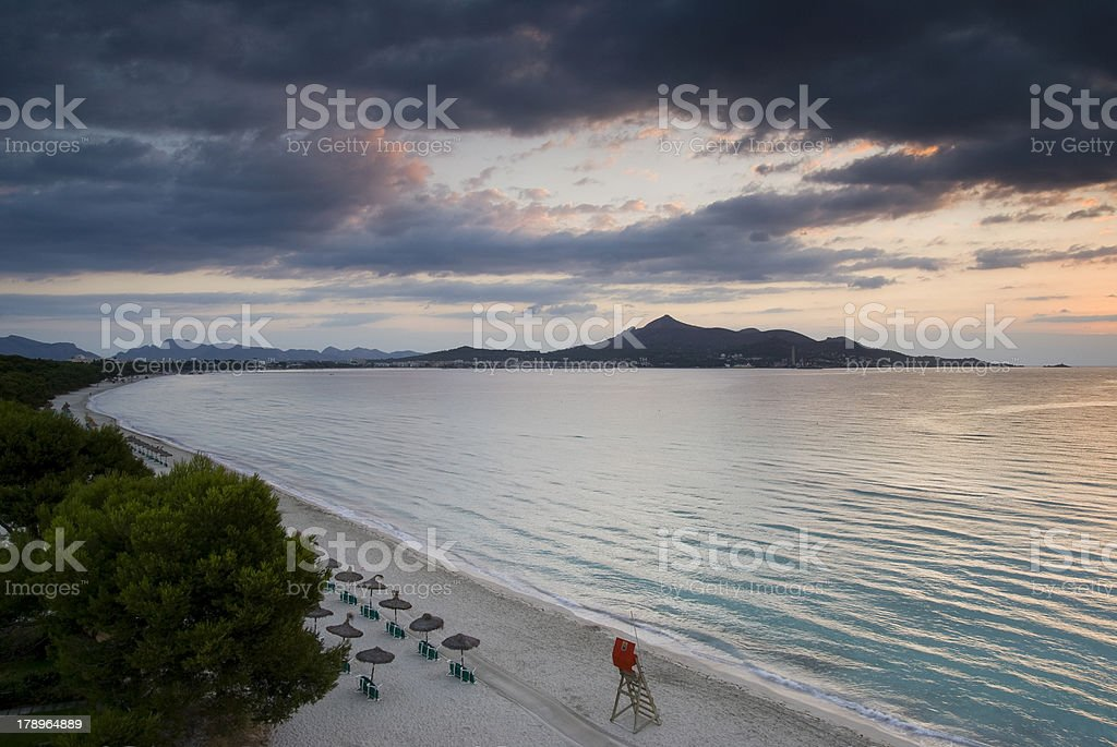 Deserted bay in the early morning stock photo