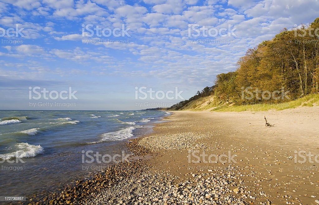 Deserted Beach in Autumn stock photo