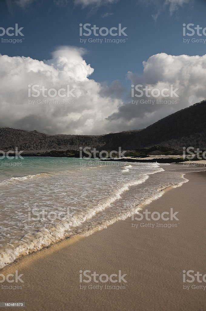 Deserted Beach in the Galapagos stock photo