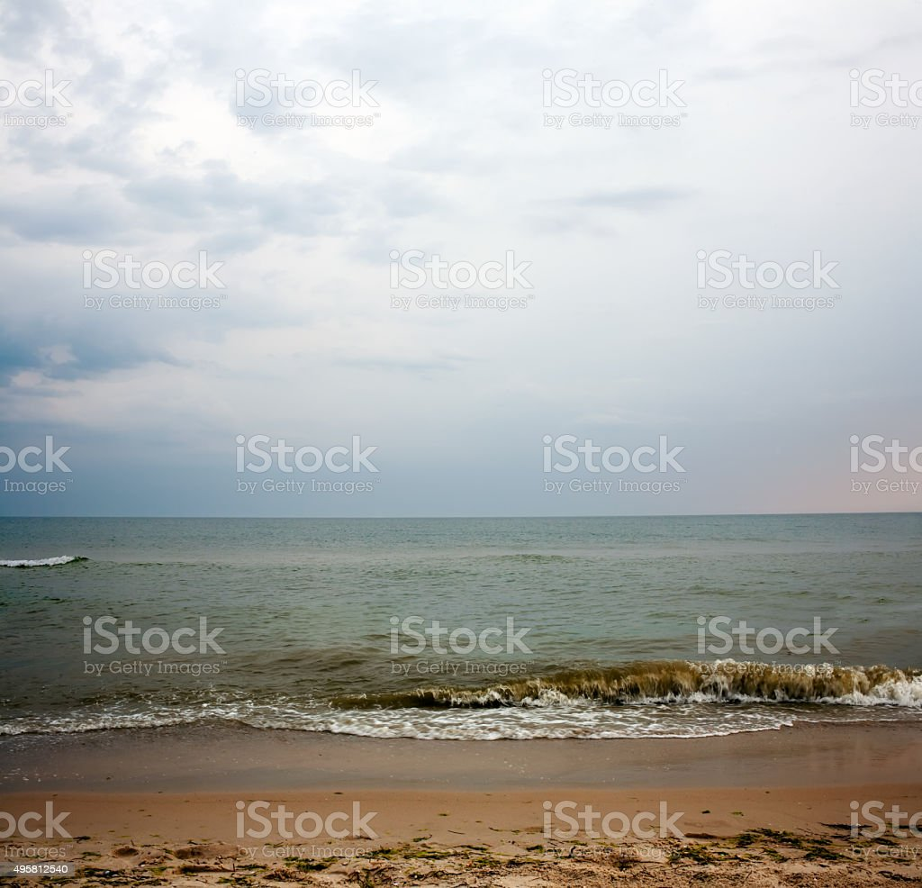 Deserted beach in the summer stock photo