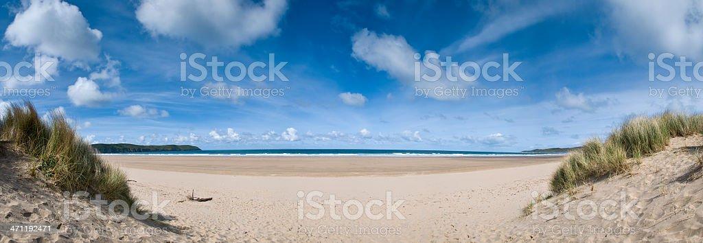 Deserted Beach Panorama stock photo