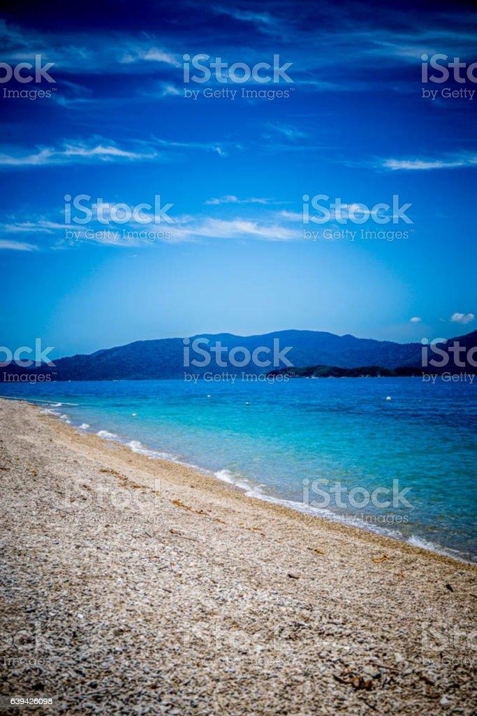 Deserted beach scene. stock photo