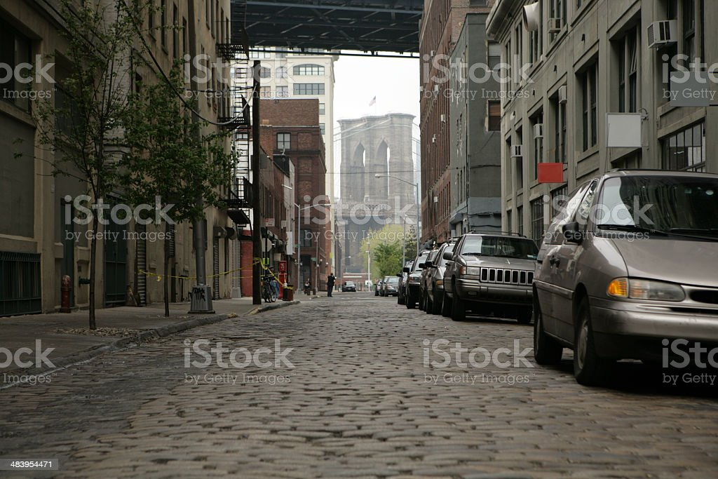 Deserted Brooklyn Bridge DUMBO Cobblestone Backstreet royalty-free stock photo