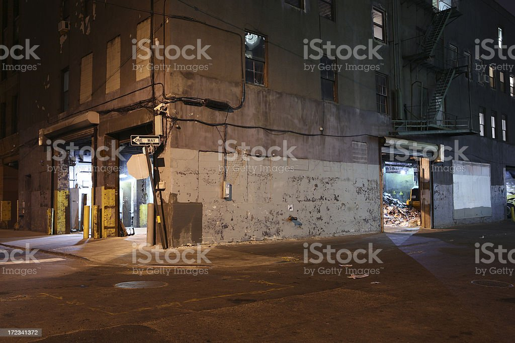 Deserted Brooklyn DUMBO Backstreet at Night royalty-free stock photo