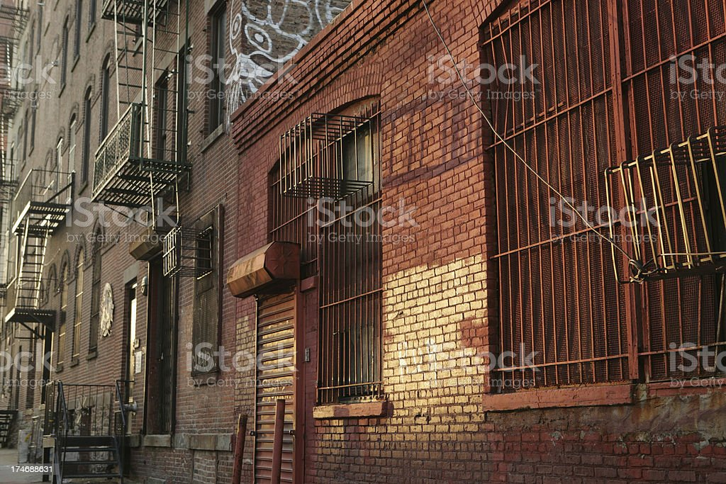 Deserted Brooklyn DUMBO Backstreet Fire Escapes Sunrise royalty-free stock photo