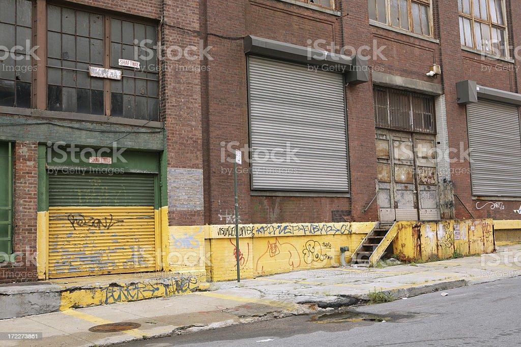Deserted Brooklyn DUMBO Backstreet Industrial Loading Bays royalty-free stock photo