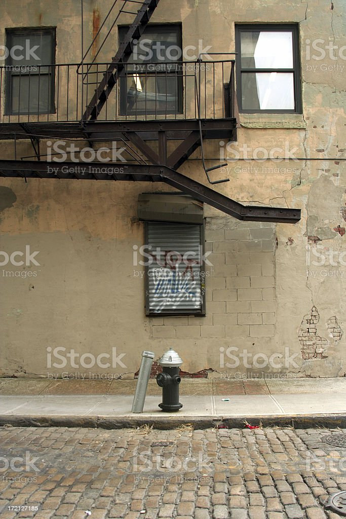 Deserted Brooklyn DUMBO Cobblestone Backstreet Fire Hydrant royalty-free stock photo