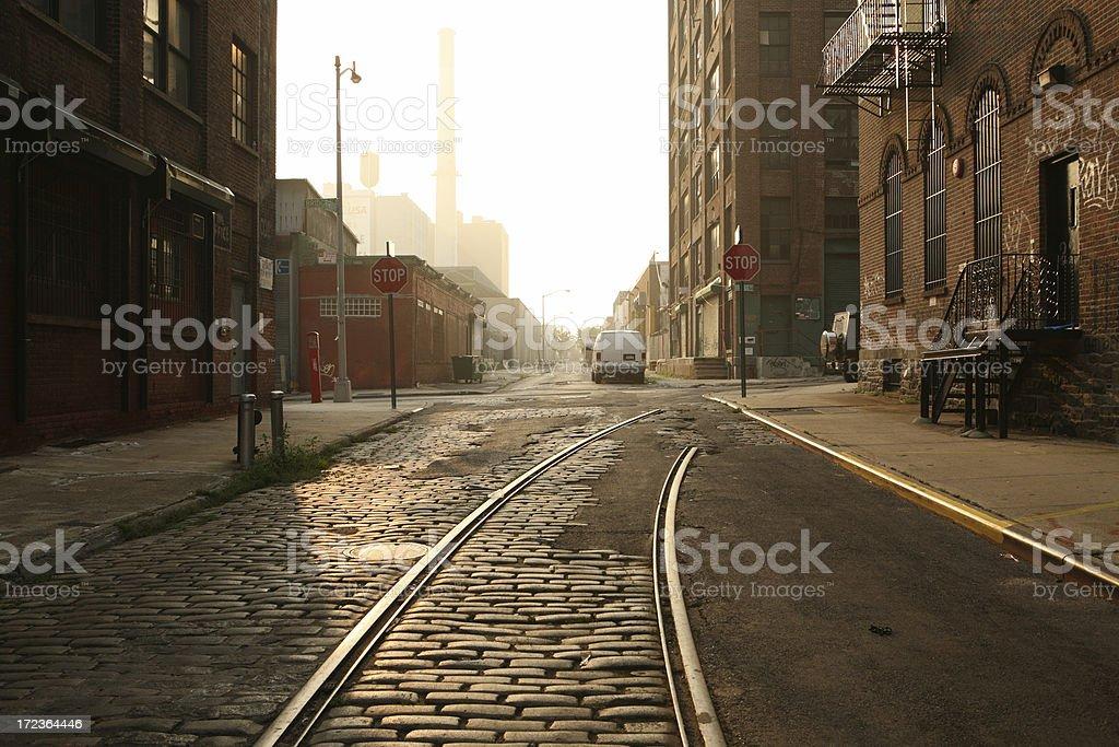 Deserted Brooklyn DUMBO Cobblestone Backstreet Morning stock photo