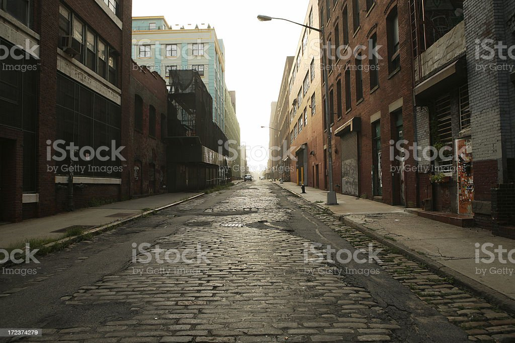 Deserted Brooklyn DUMBO Cobblestone Backstreet Morning stock photo