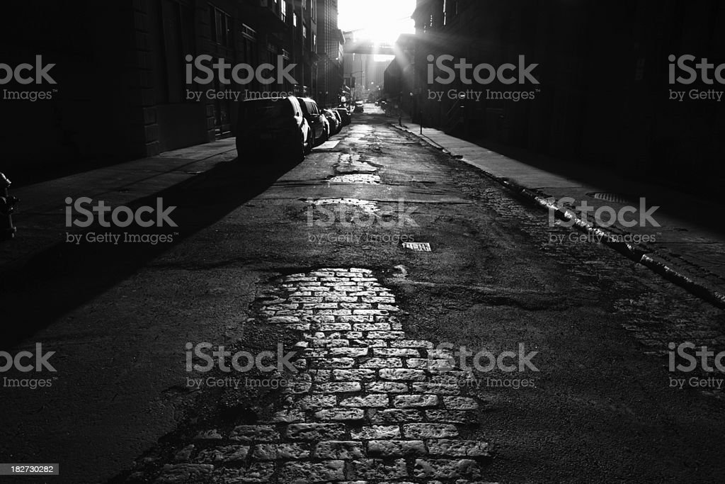 Deserted Brooklyn DUMBO Cobblestone Backstreet Sunset Monochrome royalty-free stock photo