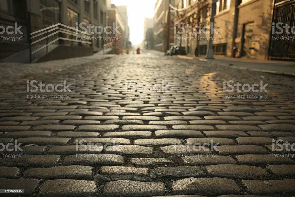 Deserted Brooklyn DUMBO Cobblestone Street Morning stock photo