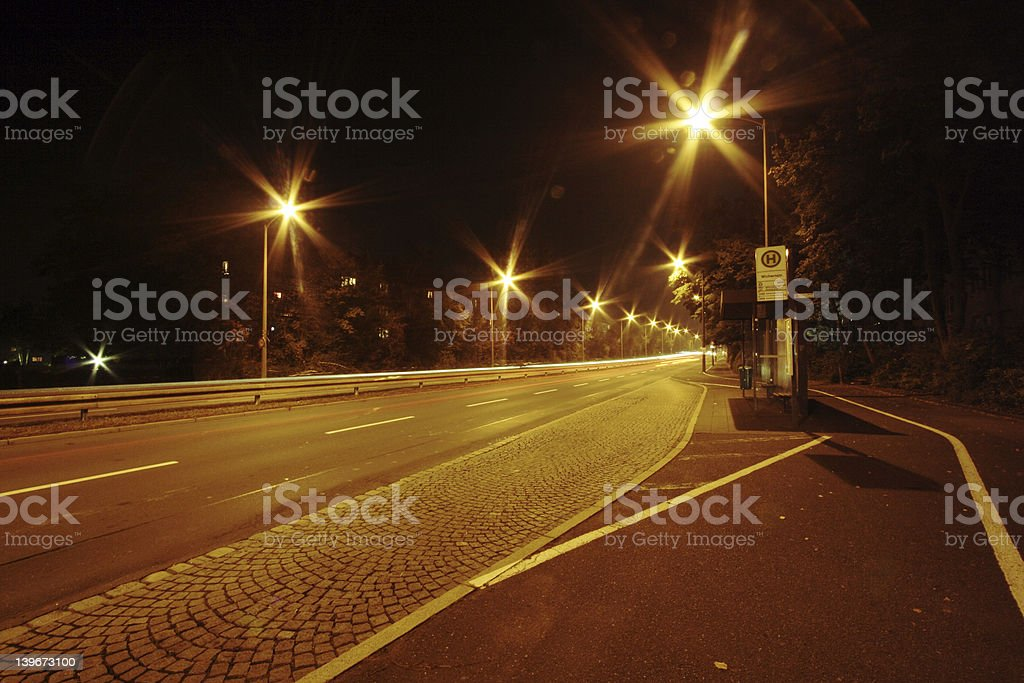 deserted Bus stop at night royalty-free stock photo
