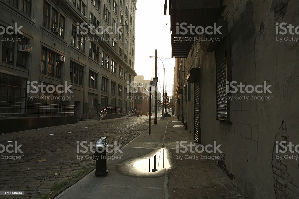 Deserted DUMBO Brooklyn Backstreet at Dawn royalty-free stock photo