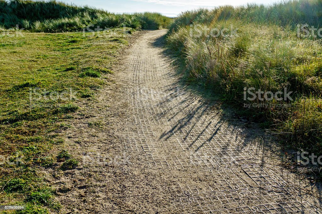 Deserted footpath in Welsh countryside stock photo