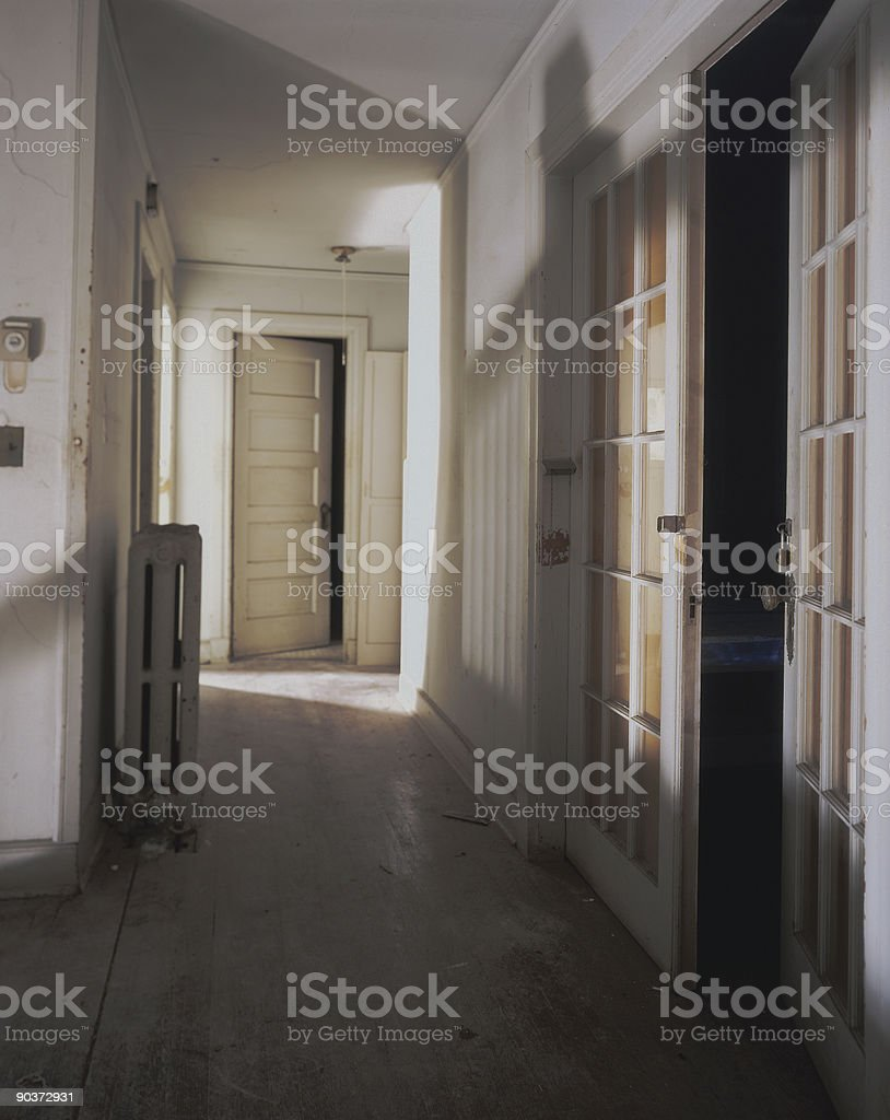 Deserted Hallway stock photo