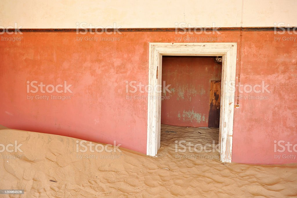 Deserted house in Kolmanskop, a ghost town near Luderits,Namibia stock photo