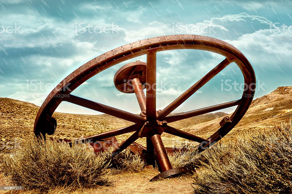 Deserted Mining Equipment In Bodie, California stock photo