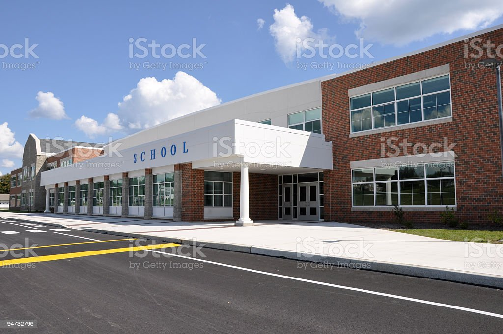 A deserted modern school building during day time stock photo