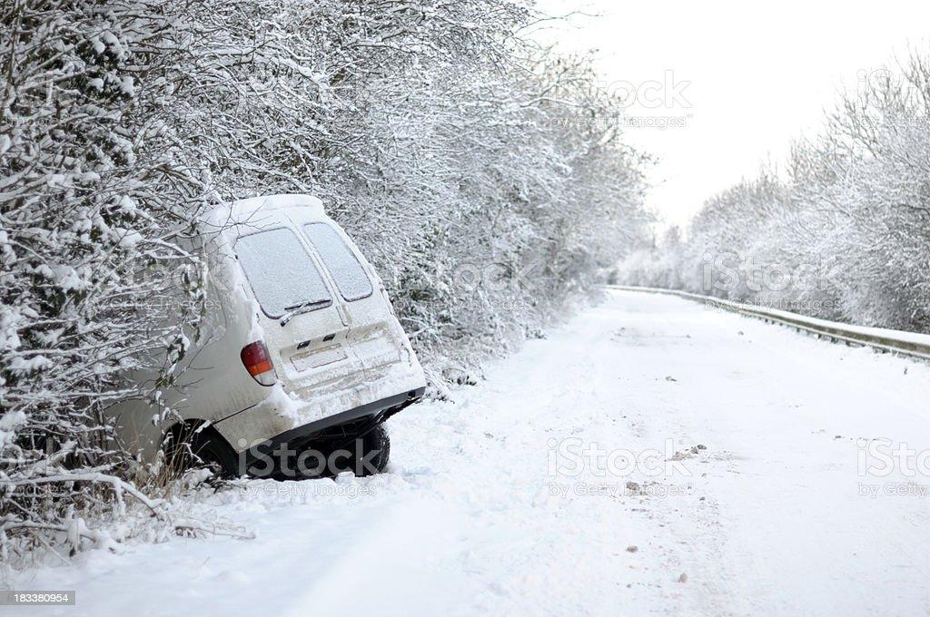Deserted motor vehical accident stock photo