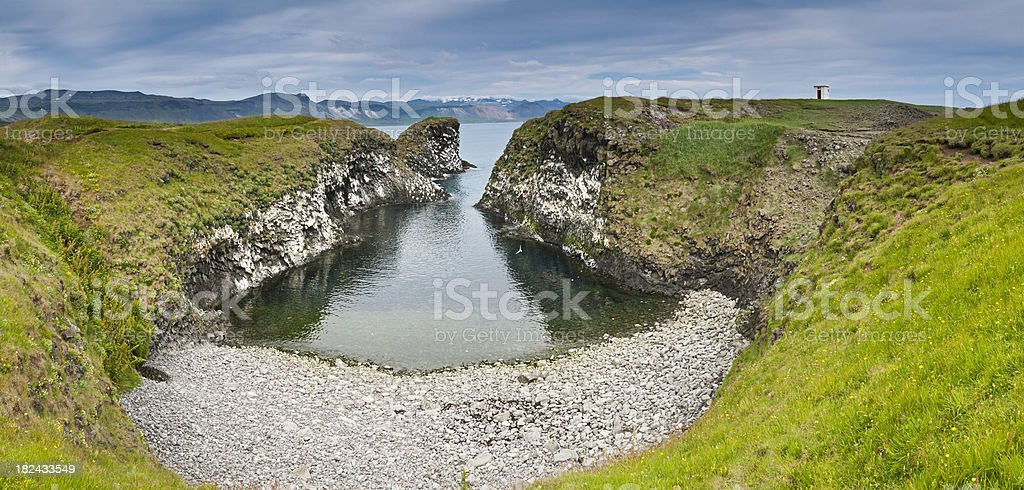 Deserted ocean bay cove beach cliffs clear water panorama Iceland stock photo