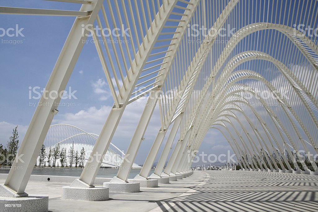 Deserted Olympic Arches in Athens stock photo