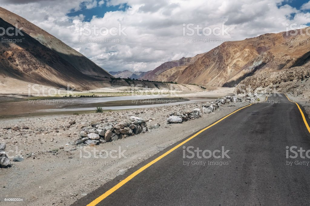 Deserted road in mountain region, North India, Ladakh stock photo