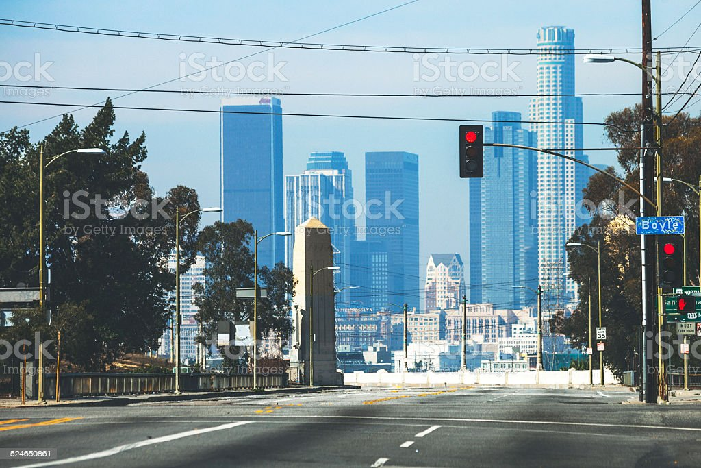 Deserted streets of Los Angeles. stock photo